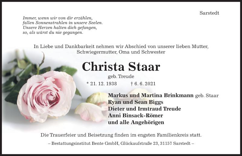 Traueranzeige für Christa Staar vom 09.06.2021 aus Hildesheimer Allgemeine Zeitung