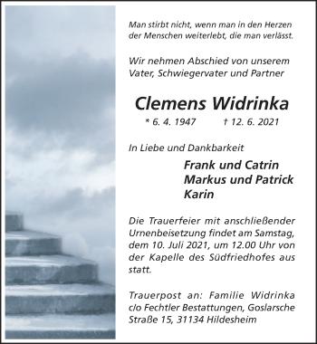 Traueranzeige von Clemens Widrinka von Hildesheimer Allgemeine Zeitung