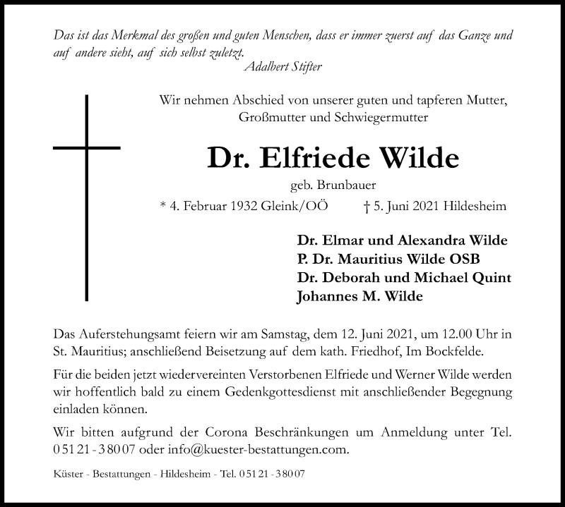 Traueranzeige für Elfriede Wilde vom 09.06.2021 aus Hildesheimer Allgemeine Zeitung