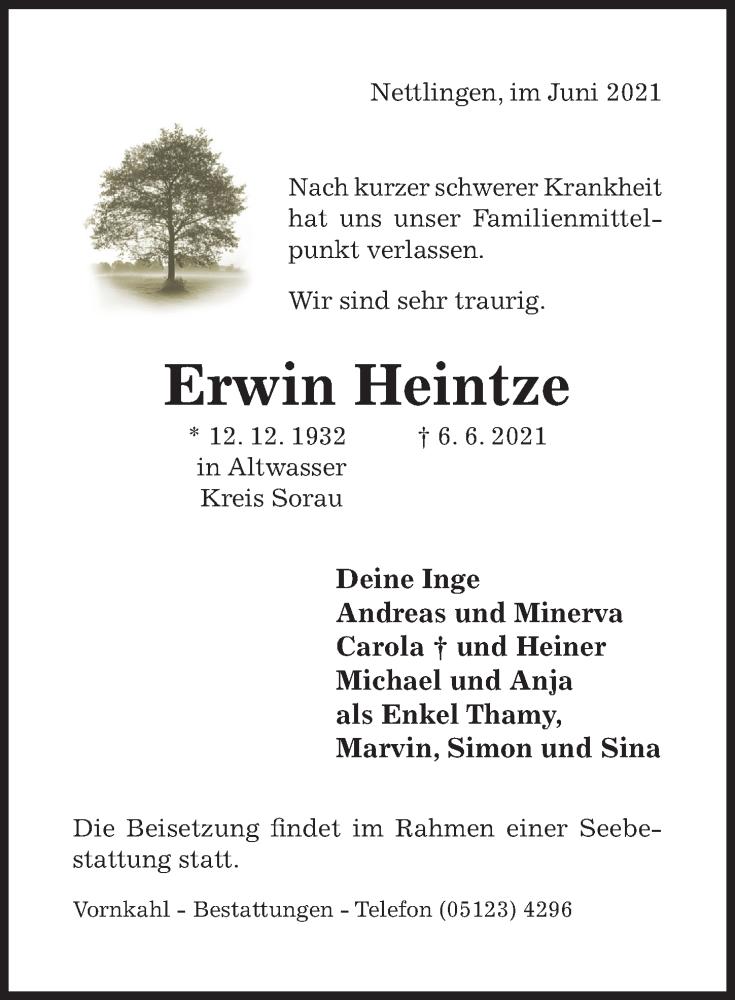 Traueranzeige für Erwin Heintze vom 09.06.2021 aus Hildesheimer Allgemeine Zeitung