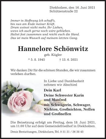 Traueranzeige von Hannelore Schönwitz von Hildesheimer Allgemeine Zeitung