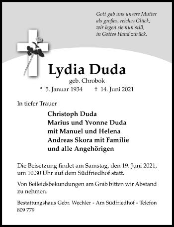 Traueranzeige von Lydia Duda von Hildesheimer Allgemeine Zeitung