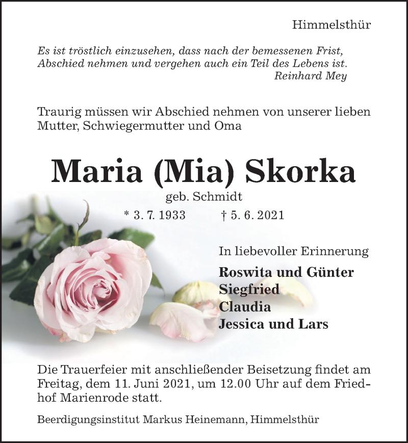 Traueranzeige für Maria Skorka vom 09.06.2021 aus Hildesheimer Allgemeine Zeitung
