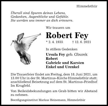 Traueranzeige von Robert Fey von Hildesheimer Allgemeine Zeitung