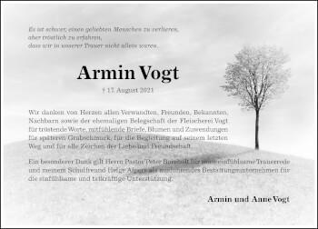 Traueranzeige von Armin Vogt von Hildesheimer Allgemeine Zeitung