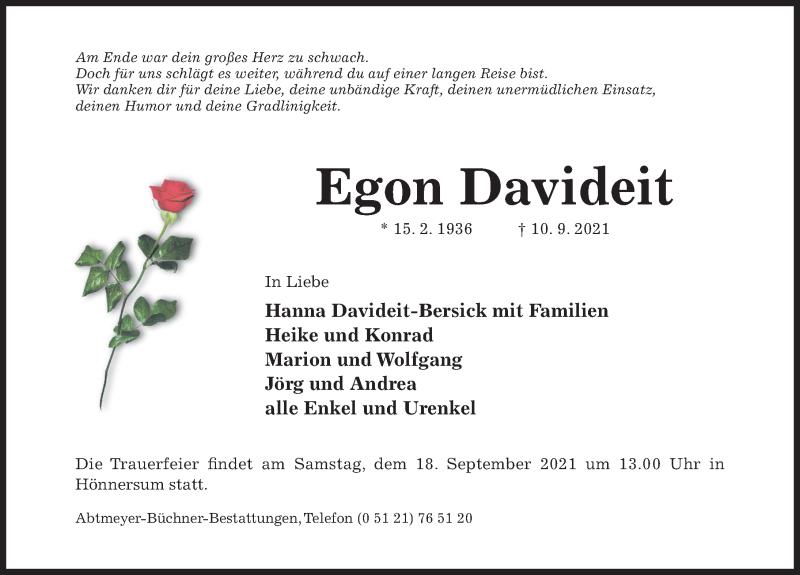 Traueranzeige für Egon Davideit vom 15.09.2021 aus Hildesheimer Allgemeine Zeitung