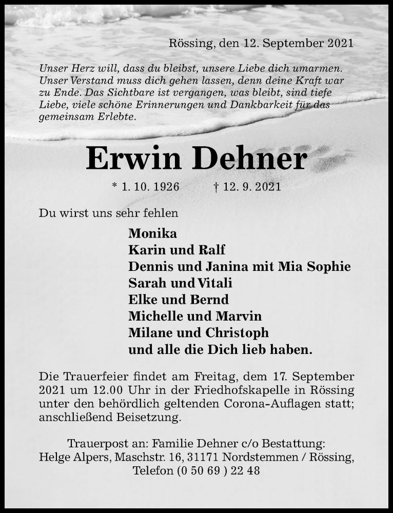 Traueranzeige für Erwin Dehner vom 15.09.2021 aus Hildesheimer Allgemeine Zeitung
