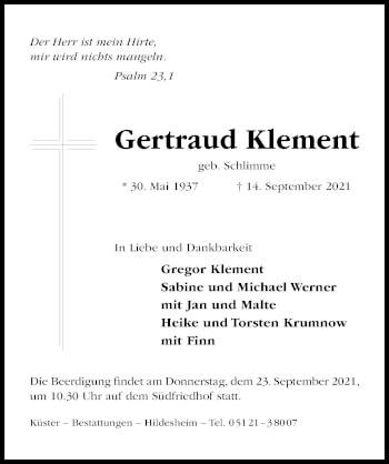 Traueranzeige von Gertraud Klement von Hildesheimer Allgemeine Zeitung