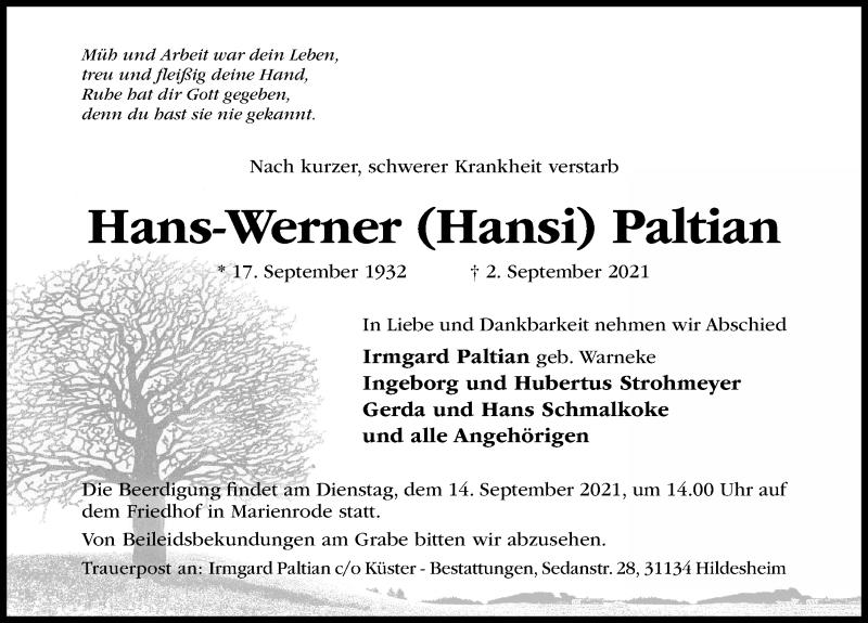 Traueranzeige Hans-Werner Paltian
