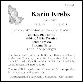 Traueranzeige von Karin Krebs von Hildesheimer Allgemeine Zeitung