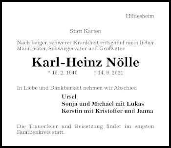 Traueranzeige von Karl-Heinz Nölle von Hildesheimer Allgemeine Zeitung