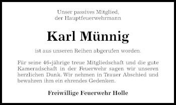 Traueranzeige von Karl Münnig von Hildesheimer Allgemeine Zeitung