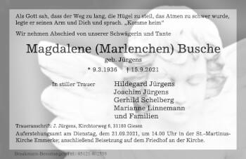 Traueranzeige von Magdalene Busche von Hildesheimer Allgemeine Zeitung